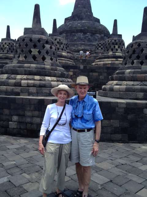 Cruise Specialists Escorts Lynn and Buddy in Semarang at the Borabudur Temple