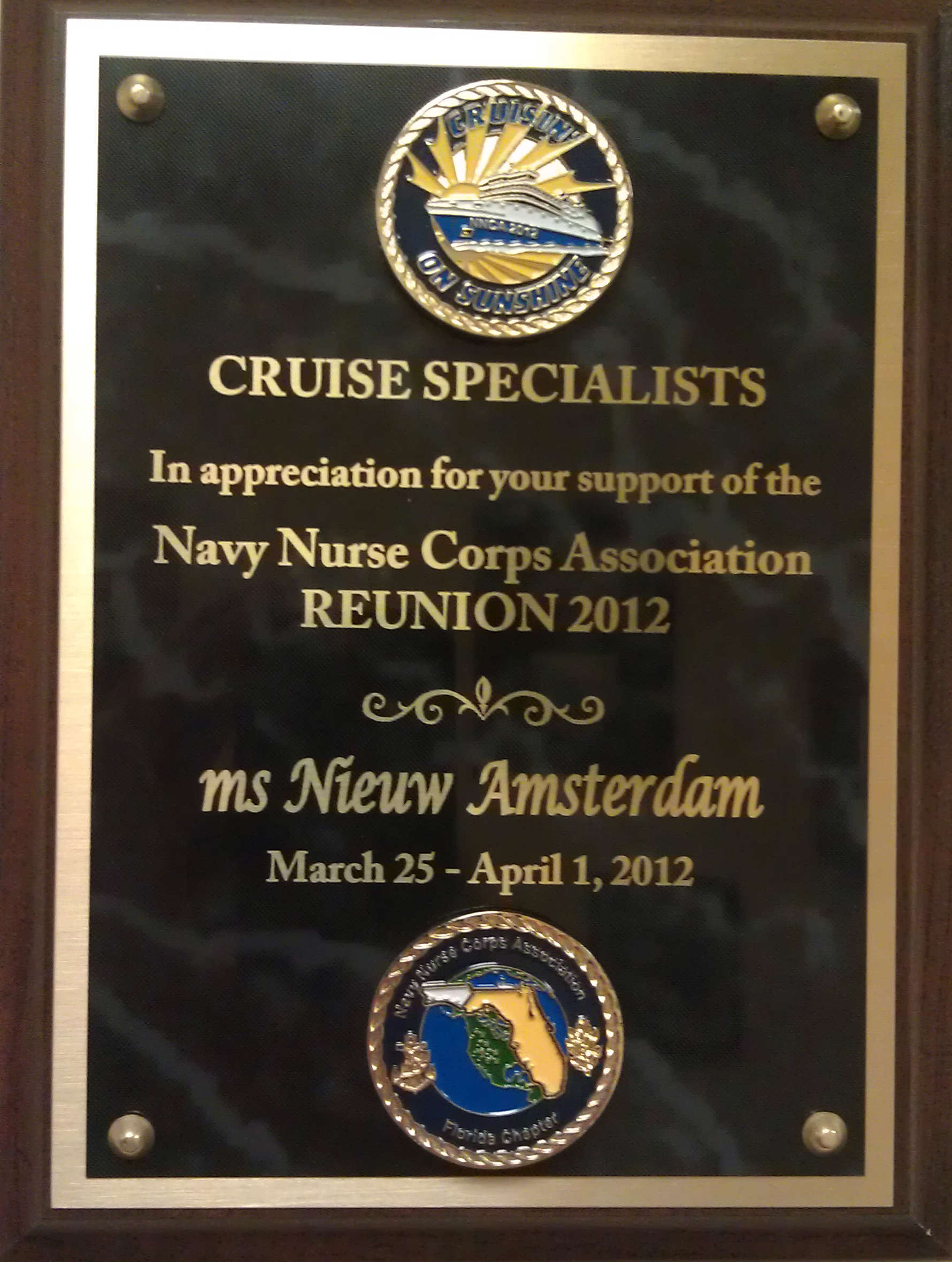 Plaque thanking Cruise Specialists team