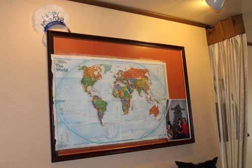 World map hanging in stateroom