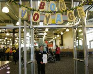 decorated cruise port with bon voyage sign