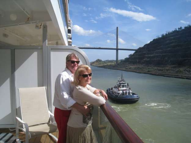 Kim and Deidree sailing through the Panama Canal on a world cruise.