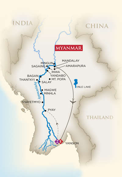 Golden Treasures of Myanmar itinerary. courtesy of AmaWaterways