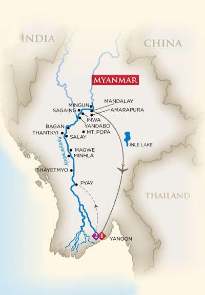 Golden Treasures of Myanmar itinerary. courtesy of AmaWaterways