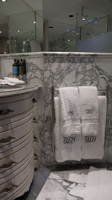 Marble bathroom in deck four stateroom on Uniworld's S.S. Maria Theresa. ©2015 Ralph Grizzle