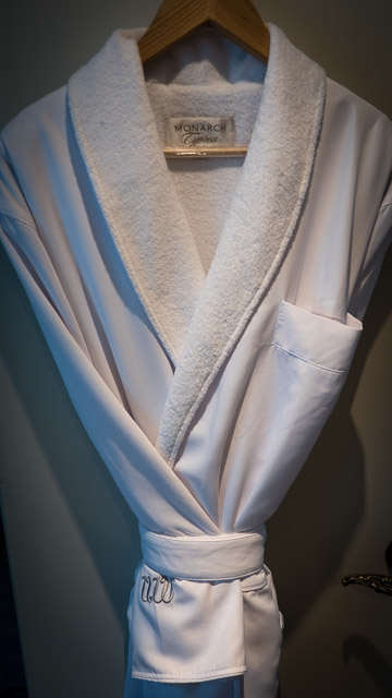 Soft bathrobes on Uniworld's S.S. Maria Theresa. © 2015 Ralph Grizzle