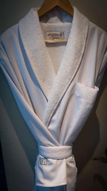 Soft bathrobes on Uniworld's S.S. Maria Theresa. ©2015 Ralph Grizzle