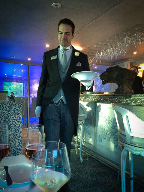 Dinner in the Leopard Bar on Uniworld's S.S. Maria Theresa. ©2015 Ralph Grizzle