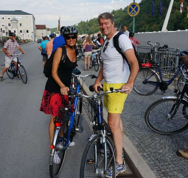 On bicycles while cruising AmaWaterways. Apologies for the yellow shorts!