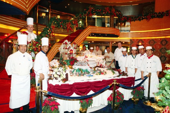 Enjoying festivities aboard Holland America Line
