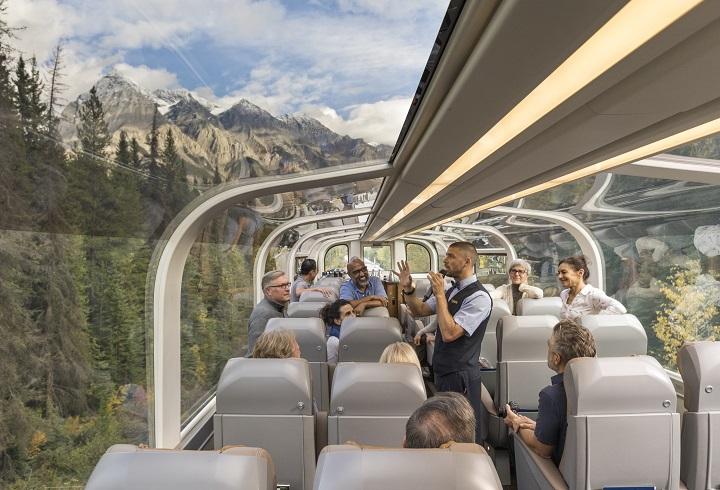 inside a Rocky Mountaineer railcar