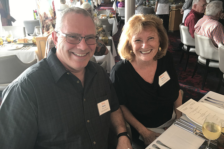 Couple dining aboard world cruise