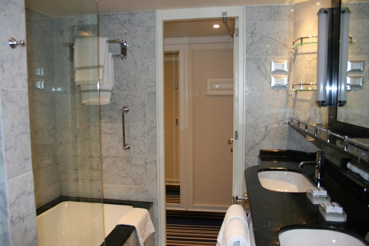 luxurious bathroom in cruise ship suite