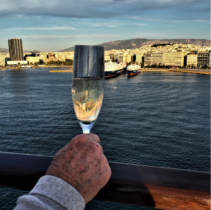 glass of champagne on cruise ship