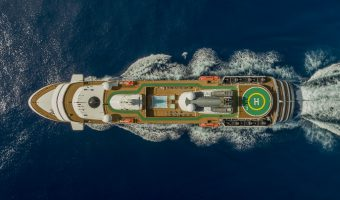 overhead shot of cruise ship