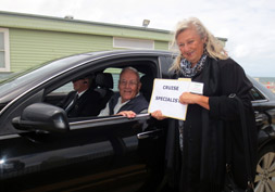 Seeing off a World Cruise guest in a private car with guide in Melbourne, arranged by Cruise Specialists.
